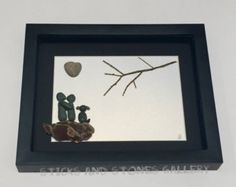 Pebble Art Engagement Gift Beach Glass Art Unique by SticksnStone