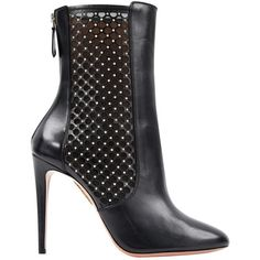 Pre-owned Aquazzura Leather Ankle Boots ($337) ❤ liked on Polyvore featuring shoes, boots, ankle booties, black, women shoes ankle boots, leather ankle boots, black bootie, black leather bootie, black high heel boots and leather bootie
