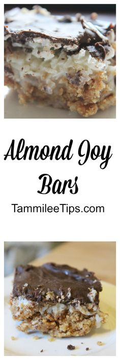 Coconut and Chocolate Almond Joy Bars are absolutely delicious. This cookie bar recipe is super easy to make and tastes amazing.