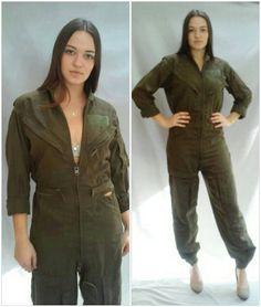 41419cdc9ac Military Jumpsuit 70s coveralls mechanic flight suit army green Vietnam era  30 Waist
