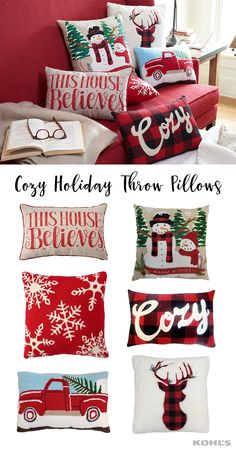 "There's no such thing as too many holiday throw pillows. Plus, it's the easiest way to add holiday festivity to any couch or chair. Featured product includes: St. Nicholas Square truck oblong throw pillow, ""cozy"" plaid oblong throw pillow, ""this house believes"" throw pillow, deer sherpa throw pillow, ""warm wishes"" snowmen throw pillow and snowflake tufted throw pillow. Celebrate the season with Kohl's."