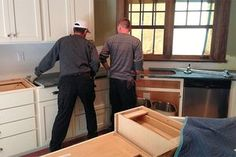 Installing new countertops in a home kitchen