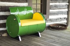 """Brilliant green and yellow! We call it """"Something Country"""" www.drumworksfurniture.com"""