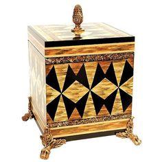 """Trinket Jewelry Box Gold w/ Inlaid Accents Black Broze Tall 13"""""""