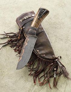 Belt Knife with Walrus and Forged Copper
