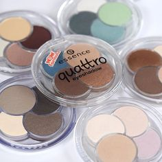 """discover our six """"quattro eyeshadows"""" with four perfectly aligned shades heart #essence"""