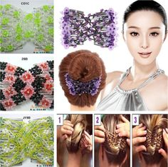 1 pcs Magic EZ Elastic Stretchy Double Jewelry Beaded Hair Accessory Combs Clips