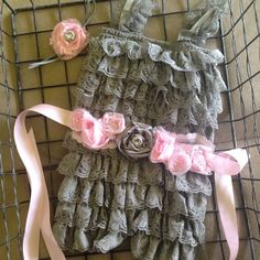 Baby girl lace romper with floral belt and matching headband on Etsy, $30.00