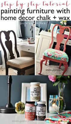 Chair Before & After! How To: Paint Furniture With A Chalk Paint Finish + Wax Seal (instructions + video tutorial)