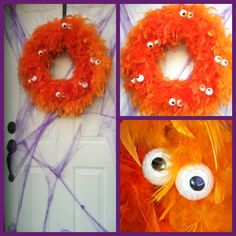 Halloween front door decor - Halloween wreath and front door decorations using a feather boa, styrofoam balls and wiggly eyes.