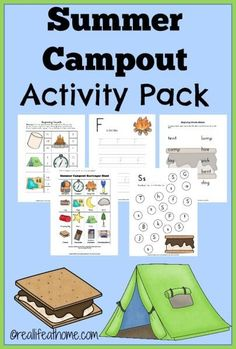 FREE Camping Themed Worksheets! 23 page Summer Campout Activity Pack | reallifeathome.com