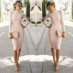 Pink Plain Draped Round Neck Long Sleeve Bodycon Elegant Sexy Midi Pencil Dress