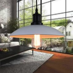 Pendant Light With Edison Bulb, White Shade