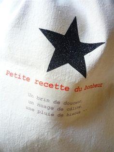 Sac Petite recette du bonheur (Un brin de douceur, un nuage de câlins, une pluie de bisous...) by Parisienne.Kom