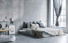 大きなグレーのベッド, シーツと枕、ドレープカーテン。あなたの理想のベッドルームはどんなですか?