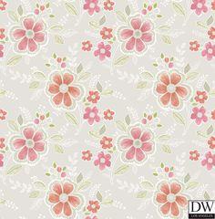 Chloe Peach Floral Wallpaper  [FFA-82000] Frederica Frontere   Color: Peach   DesignerWallcoverings.com   Luxury Wallpaper   @DW_LosAngeles   #Custom #Wallpaper #Wallcovering #Interiors