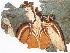 Fresco de la Dama de la Corte, del siglo XIII a.C. Palacio de Micenas.