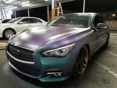 She's got her new coat. Colorshift Cosmic Crush by KP Pigments. #dippedtrix #q50 #liquidwraps #haloeffects #plastidip #dipyourcar #stanced #boosted #staticdrop #neckbreaker