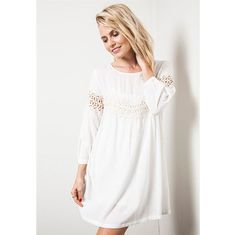 This adorable baby doll white, long sleeve, lace dress is a must have ! It has a beautiful flowing fit, it can be worn many ways for a casual or more dressed up look!