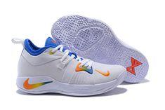 404a7b5187f8 Men s Nike PG 2 White Blue Orange Paul George Basketball Shoes Basketball  Sneakers