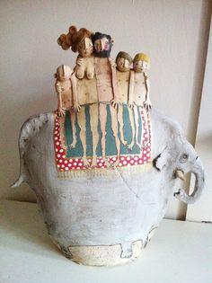 Elephant Ride by Emily Rowley Sculptures Céramiques, Sculpture Art, Ceramic Clay, Ceramic Pottery, Elephant Art, Elephant Ride, Ceramic Elephant, Ceramic Figures, Ceramic Animals
