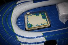 eat cake in a blowup boat