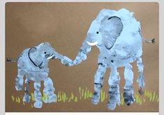 Elephant mom and baby handprint . also other ideas for hand/footprint art Kids Crafts, Toddler Crafts, Projects For Kids, Diy For Kids, Arts And Crafts, Family Art Projects, Daycare Crafts, Toddler Art, Rainy Day Activities For Kids