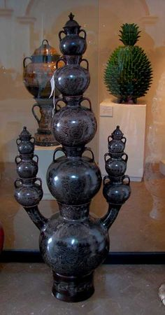 """Featured in """"The Great Masters of Mexican Folk Art"""" ~Elena Felipe Felix & Bernadina Riviera are Famous for their Large Burnished Clay Jug Towers.    Aren't they Grande?"""