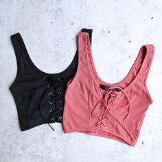 ribbed lace-up crop top - more colors