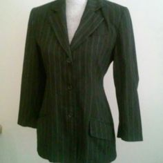 Striped jacket Worn a couple times. Brown, black and white pin striped. 3 button closure with 3 faux pockets..two on the bottom and one at the breast. Faux buttons on sleeves to add to the look. Lite padding in shoulders. Size 34 which is better fitting on a 10-12, M-L. Hennes Collection  Jackets & Coats Blazers