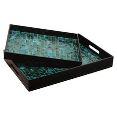 Set of two lacquer trays with glass tile inlay.    Product: Small and large tray    Construction Material: Resin and g...