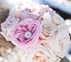flowers with engagement rings