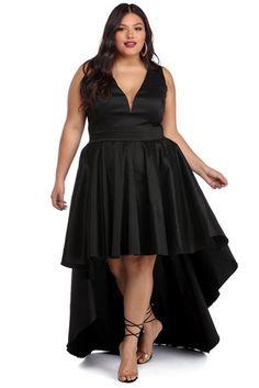76c2c84626 Plus Selena Black Taffeta High Low Dress