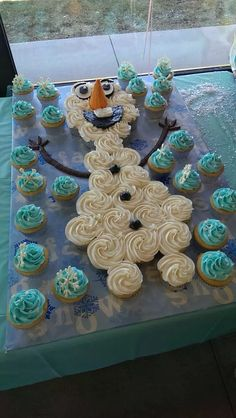 Olaf Cupcake Cake Frozen Birthday Cupcakes