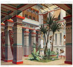 oldbookillustrations:      Auguste Racinet (French, 1825-1893)  Egypt: interior of a rich house from the early antiquity,from Le costume historique (The costume history)vol. 2, under the direction of A. Racinet, Paris, six volumes published between 1877 and 1886.  (Source: archive.org)
