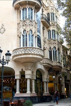 Art-Nouveau architecture in Palma de Mallorca, Spain; love this kind of architecture:) Architecture Design, Architecture Classique, Architecture Antique, Architecture Art Nouveau, Beautiful Architecture, Beautiful Buildings, Facade Design, Paris Architecture, French Architecture