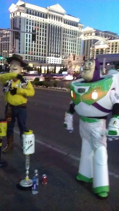 Buzz and Woody on the Las Vegas strip