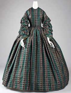 1860s - American or European - Striking woven plaid gown. Interesting sleeves!