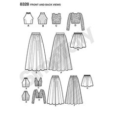 Sewing Top Create endless mix-and-match options for any special event. Misses' SewStylish dress pattern offers skirts in two lengths and three different top options. Wedding Dress Sewing Patterns, Formal Dress Patterns, Skirt Patterns Sewing, Simplicity Sewing Patterns, Pattern Sewing, Skirt Sewing, Coat Patterns, Pattern Drafting, Blouse Patterns