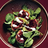 Fig Salad with Goat's Milk Yogurt and Pepper Cress by Bon Appétit, submitted by Mourad Lahlou