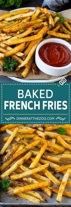 Baked French Fries - Dinner at the Zoo Potato Side Dishes, Best Side Dishes, Healthy Side Dishes, Healthy Eating Recipes, Vegetable Side Dishes, Cooking Recipes, Skillet Recipes, Pizza Recipes, Potato Recipes