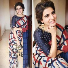 Samantha Prabhu attended an event in Salem recently wearing a beautiful saree look. She paired her checkered saree by Resha by Medhavini with a blue . Saree Blouse Patterns, Saree Blouse Designs, Dress Designs, Dress Patterns, Indian Blouse, Indian Sarees, Indian Attire, Indian Wear, Indian Dresses