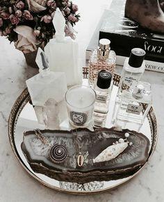 - Home decor - perfume Perfume Organization, Vanity Organization, Perfume Storage, Organization Ideas, Rangement Makeup, Perfume Display, Perfume Tray, Beauty Corner, Vanity Decor