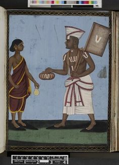 Opaque watercolour painting of a Vaishnava, probably a Sattani Vaishnava, wearing a white dhoti with a angavastra (shawl) wound around his hips, a begging bowl in his right hand and a large fan in his left. Both are decorated with a large Vaishnava namam (emblems). Further Vaishnava emblems are drawn on his forehead, chest, arms and stomach. He is clean shaven and wears a tall cap. On his ears are golden earrings. His wife wears a deep red sari and carries a lota.