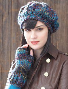 Yarnspirations.com - Patons Beret and Fingerless Gloves - Patterns | Yarnspirations