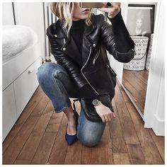 Dang! Audrey Lombard in Samsøe & Samsøe Tautou leather jacket.
