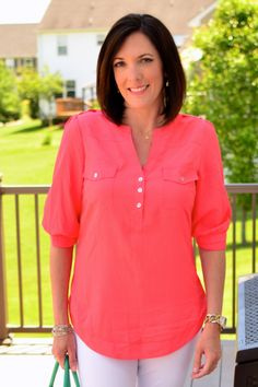 Coral is gorgeous too... this cut would flatter me perfectly!  [Stitch Fix 41Hawthorn Filbert 3/4 Sleeve Popover Blouse]