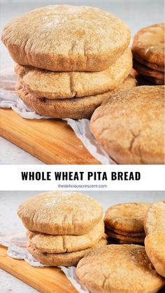 Whole wheat pita bread that is hearty, soft and puffed up. This simple and easy recipe will give you perfect pockets every single time, while keeping it healthy and delicious. These homemade pitas are vegan. Pita Recipes, Healthy Bread Recipes, Baking Recipes, Dessert Recipes, Spelt Recipes, Whole Wheat Pita Bread, Whole Wheat Rolls, Whole Wheat Flour, Desert Recipes