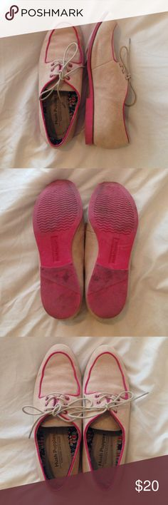Hush Puppies two tone shoes Pink and tan hush puppies with pink sole. Great condition only worn a few times. Tan has a pink undertone. Hush Puppies Shoes Flats & Loafers