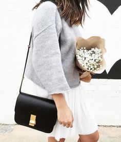 Cozy outfit for fall, grey jumper with white dress